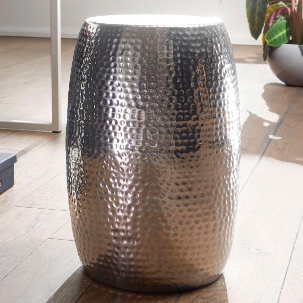 WOHNLING Beistelltisch PEDRO Aluminium Silber Dekotisch orientalisch rund