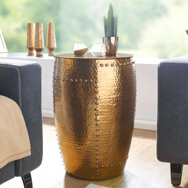 WOHNLING Beistelltisch PEDRO Aluminium Gold Dekotisch orientalisch rund