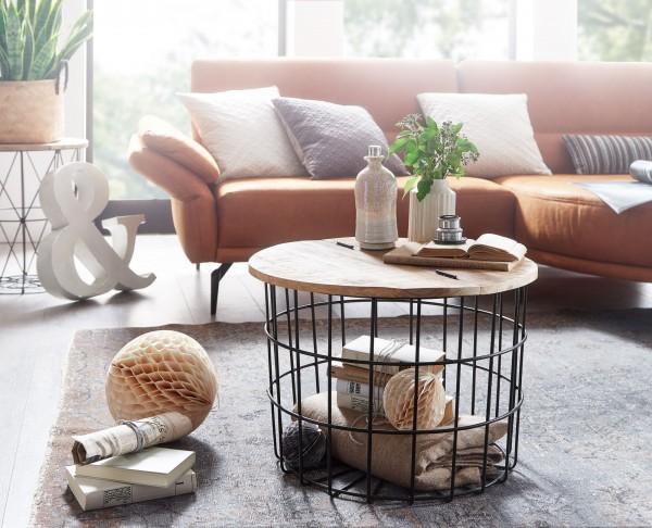 Wohnling Couchtisch Mango Massivholz Metall 60x43x60 cm Industrial Style Rund