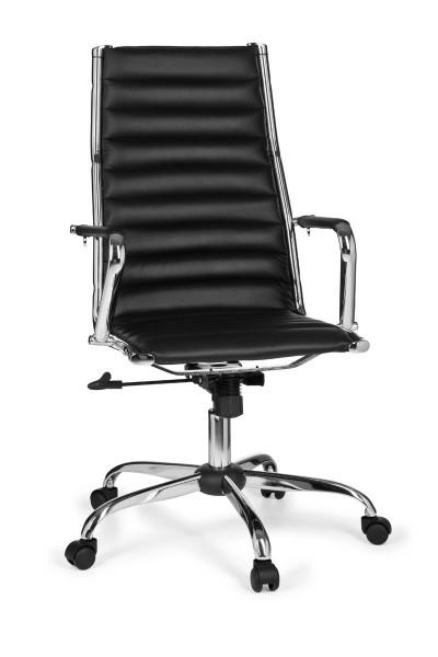AMSTYLE Bürostuhl GENF 1 Bezug Kunstleder Schreibtischstuhl Schwarz X-XL 110 kg Chefsessel