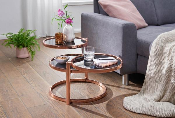 WOHNLING Couchtisch SUSI mit 3 Tischplatten Schwarz / Kupfer 58 x 43 x 58 cm | Beistelltisch Rund