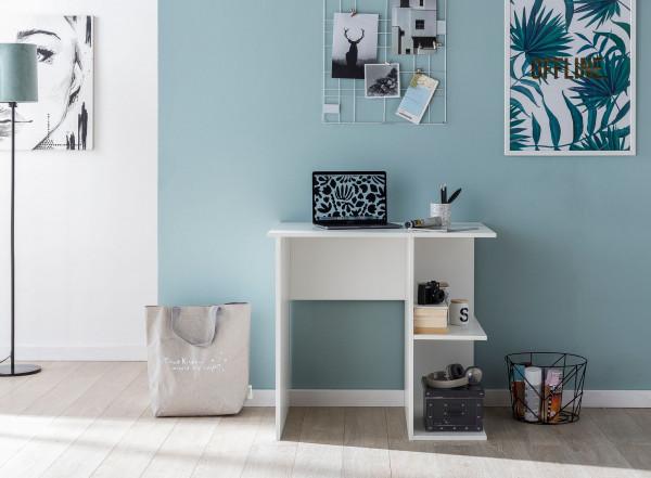WOHNLING Computertisch Weiß Schreibtisch Holger 82 x 60 x 76 cm | Kleiner Laptop PC Tisch