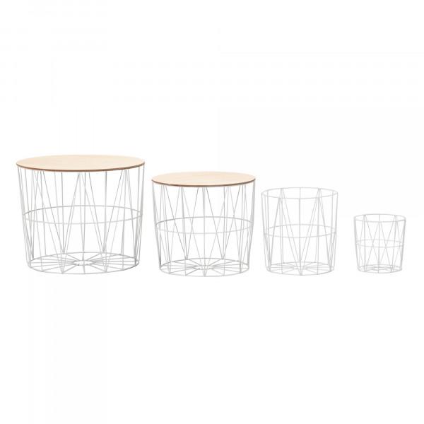 WOHNLING Design Beistelltisch 4er Set aus Körben Weiß / Eiche