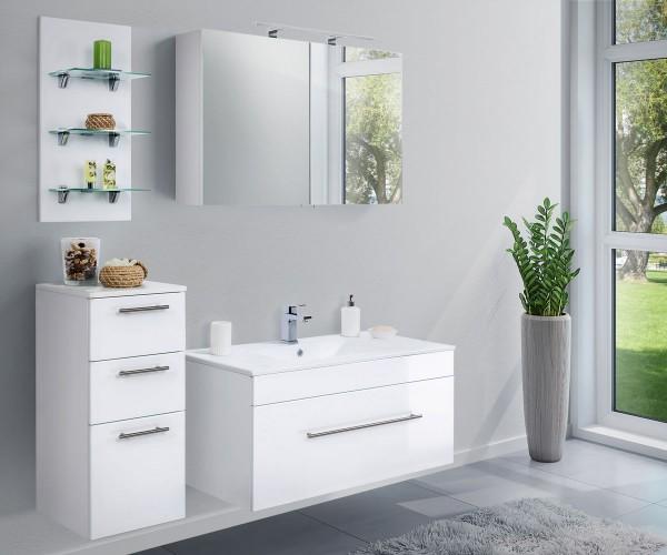 Posseik Badezimmer-Set Viva 100 cm 5-teilig mit Soft-Close Schubladen und LED Panel in Weiß Hochglan