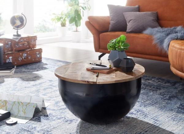 Wohnling Couchtisch Mango Massivholz Metall 60x34x60 cm Industrial Rund Sofatisch