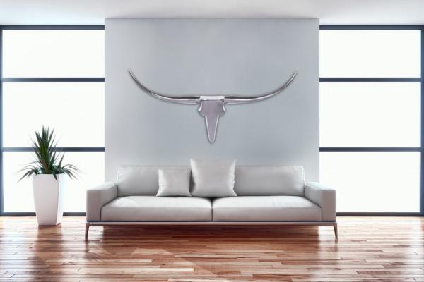 WOHNLING Bull Geweih L Wanddekoration 125cm breit Alu
