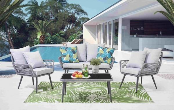 MÖBILIA Gartenmöbel-Set HAVANNA 4-tlg. 2 Stühle, 1 Bank, 1 Couchtisch, Sitz- und Rückenkissen grau