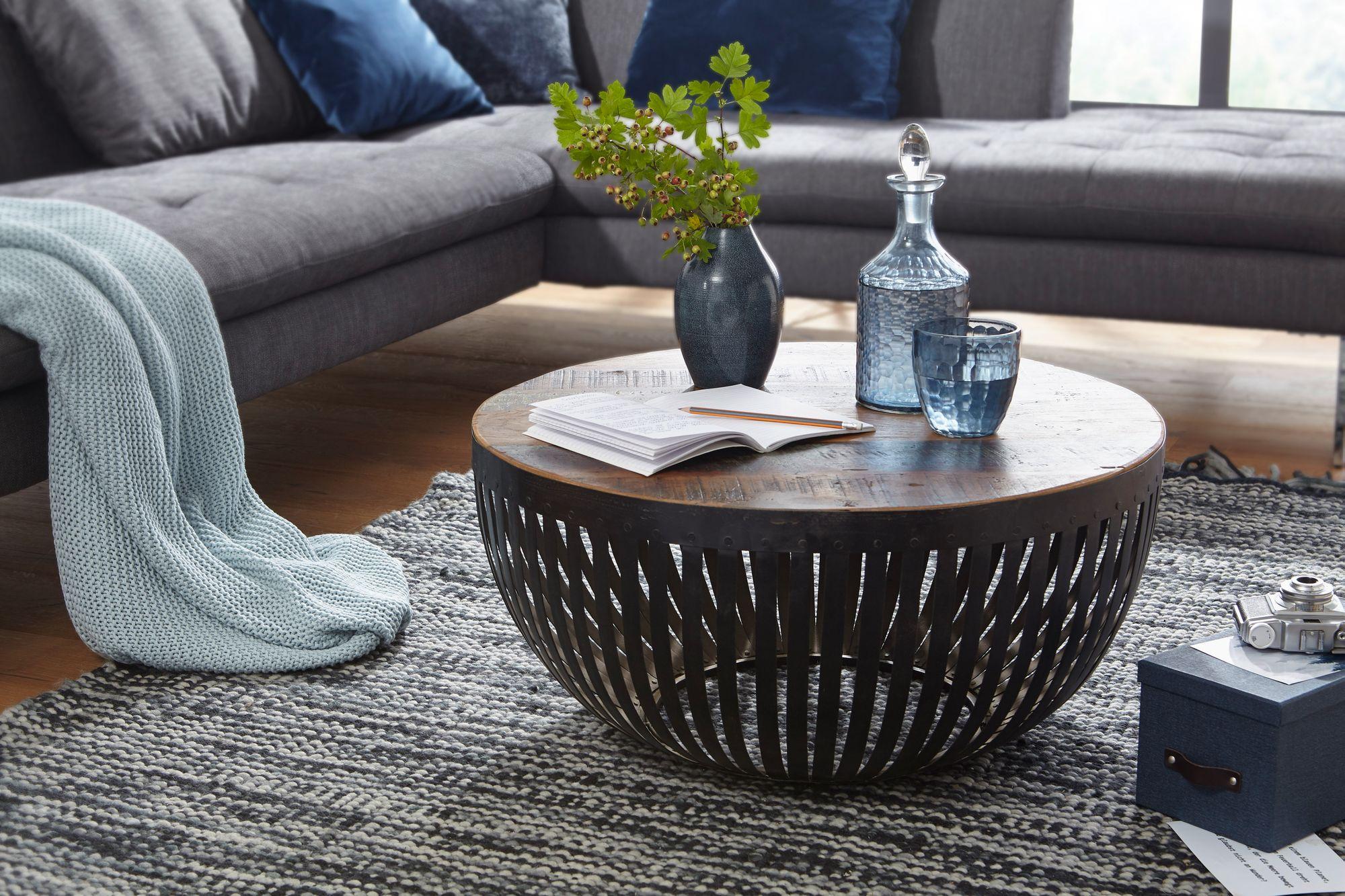 WOHNLING Couchtisch NISHA 9x9x9 cm Holz / Metall Wohnzimmertisch  Industrial  Drahtkorb Tisch