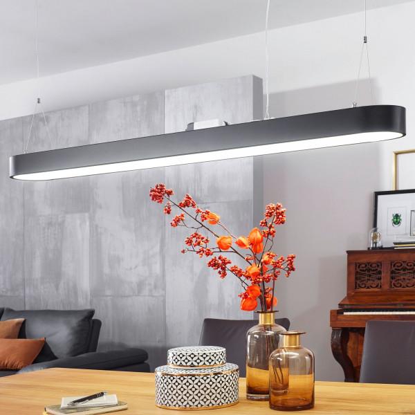 WOHNLING LED-Deckenleuchte LINE Matt schwarz Metall EEK A+ Büro-Deckenlampe