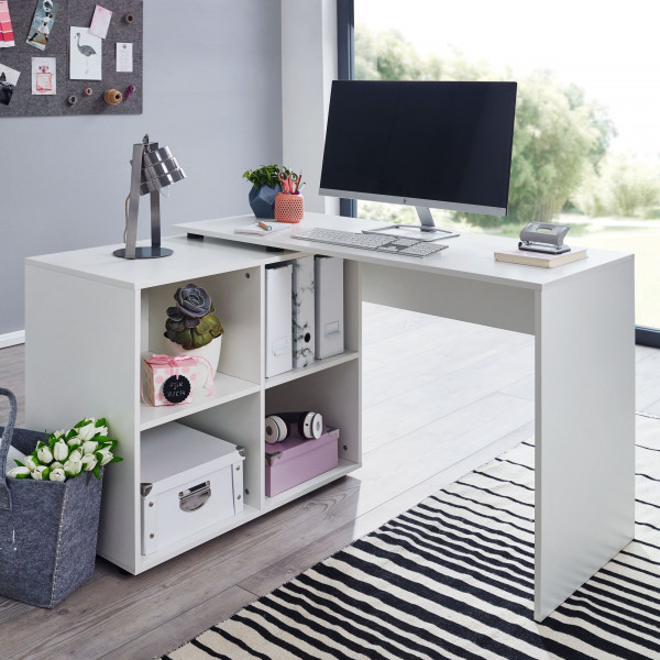 WOHNLING Design Eckschreibtisch mit Regal Weiß 117 x 75,5 x 88 cm