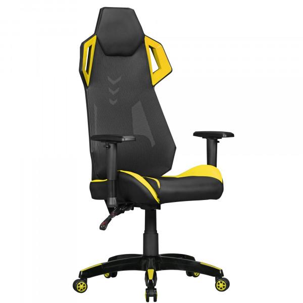 AMSTYLE® GamePad - Gaming Chair aus Kunstleder / Mesh in Schwarz / Gelb