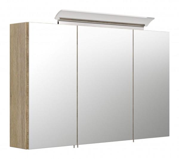 Posseik Spiegelschrank 100 cm inklusive LED-Acrylglaslampe eiche hell