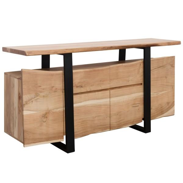 WOHNLING Sideboard GAYA Akazie Kommode Massiv Holz 175x90x44cm | Highboard mit Türen & Schubladen