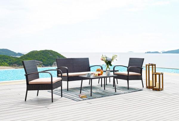 MÖBILIA Gartenmöbel-Set TAIGA 7-tlg. 2 Stühle, 2 Sitzkissen beige, 1 Bank, 1 Bankauflage, 1 Beistell