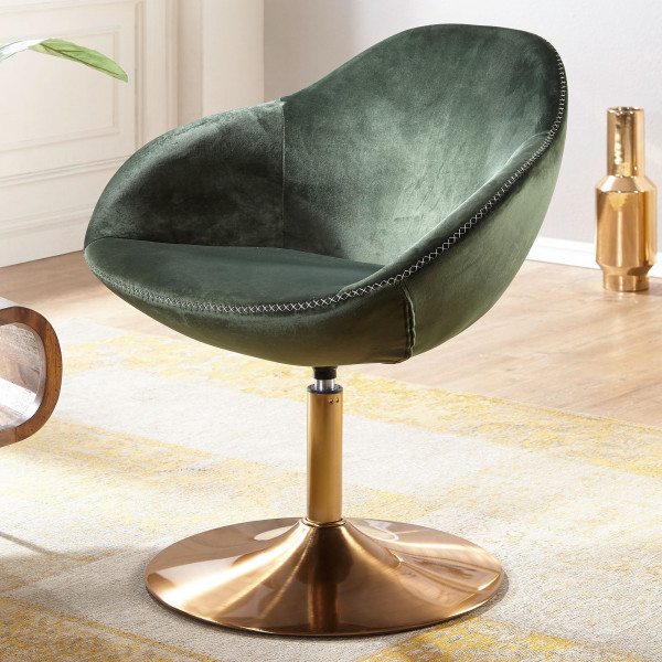 WOHNLING Loungesessel SARIN Samt Grün / Gold 70x79x70 cm Design Drehstuhl | Clubsessel Polsterstuhl