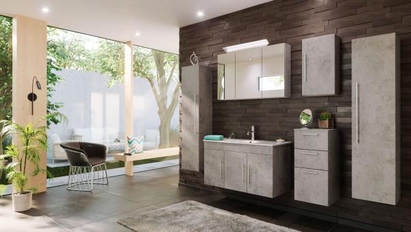 Posseik Badmöbel-Set Teramo XL 100 cm 6-tlg. mit Spiegelschrank beton