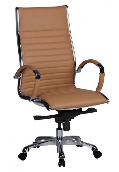 AMSTYLE Bürostuhl SALZBURG 1 Bezug Echtleder Caramel Schreibtischstuhl XXL 120kg Chefsessel