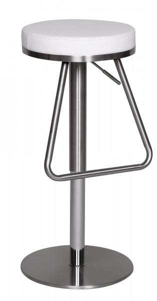 WOHNLING Barhocker Weiß Edelstahl höhenverstellbare Sitzfläche 54 - 79 cm