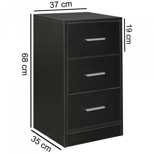 WOHNLING Nachtkonsole OLAV Nachttisch modern mit 3 Schubladen schwarz