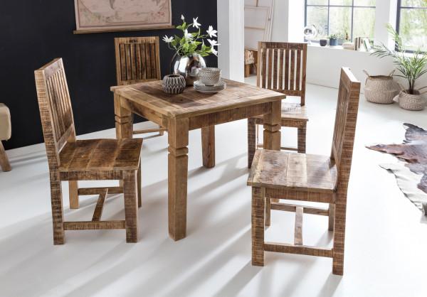 WOHNLING Esstisch RUSTICA Braun 80 x 80 x 76 cm Mango Massivholz | Design Landhaus