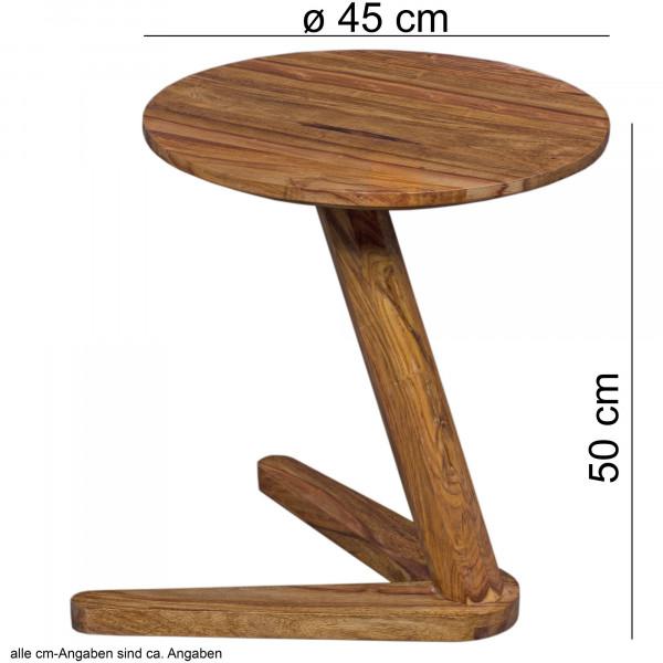WOHNLING Beistelltisch BOHA Massivholz Sheesham Design Wohnzimmer-Tisch 45 x 45cm rund Nachttisch