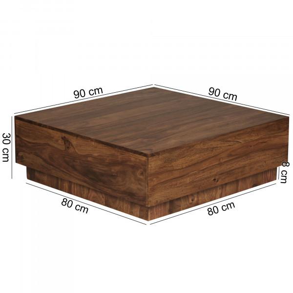 WOHNLING Couchtisch MUMBAI Massiv-Holz Sheesham 90 cm breit