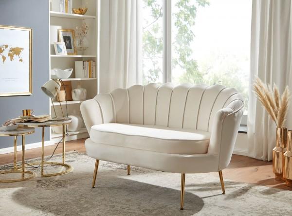 WOHNLING Design 2-Sitzer Sofa Samt Weiß 130 x 84 x 75 cm Couch goldene Beine