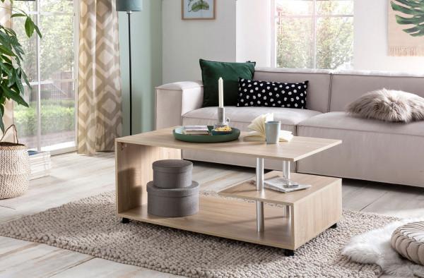 WOHNLING Design Couchtisch Letty 105 x 48,5 x 60 cm Sonoma Drehbar mit Rollen   Wohnzimmertisch