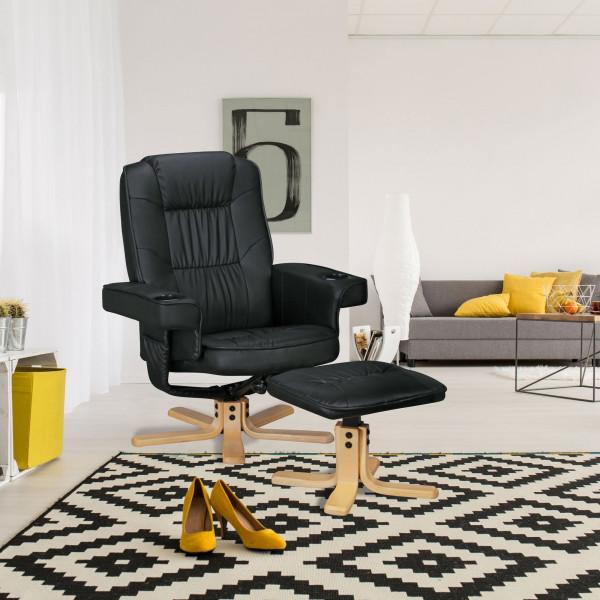 AMSTYLE COMFORT DUO - Fernsehsessel aus Kunstleder Schwarz   TV-Sessel mit Getränkehalter