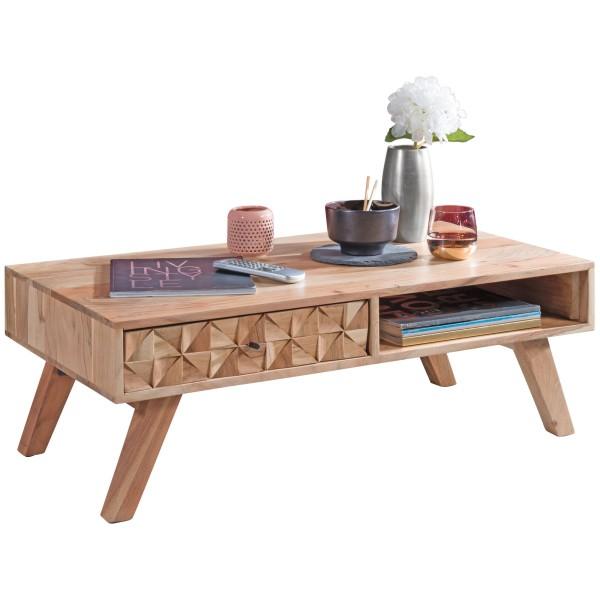 WOHNLING Couchtisch REWA 95x35x50cm Akazie Massivholz Sofatisch | Design Wohnzimmertisch