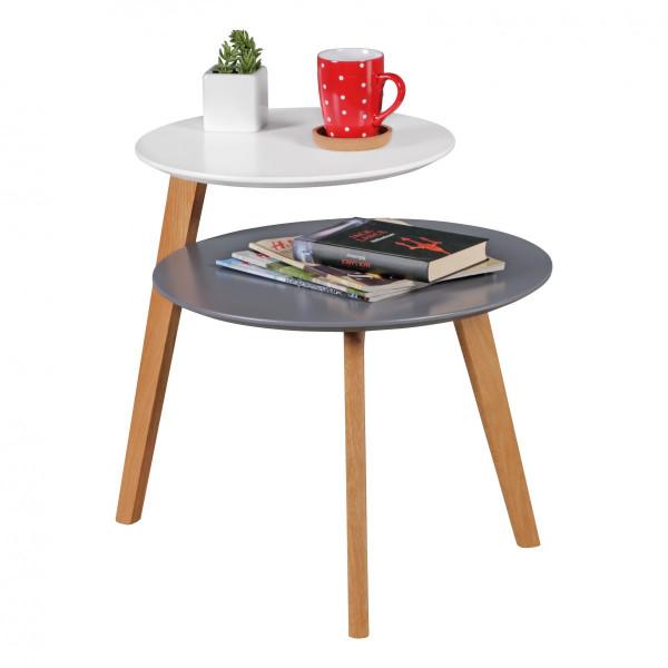 WOHNLING Retro Couchtisch SCANIO Skandinavisch mit 2 Ablageflächen Weiß Grau | Design Beistelltisch