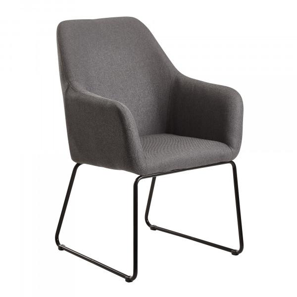 WOHNLING Esszimmerstuhl Dunkelgrau Stoff / Metall Küchenstuhl mit schwarzen Beinen