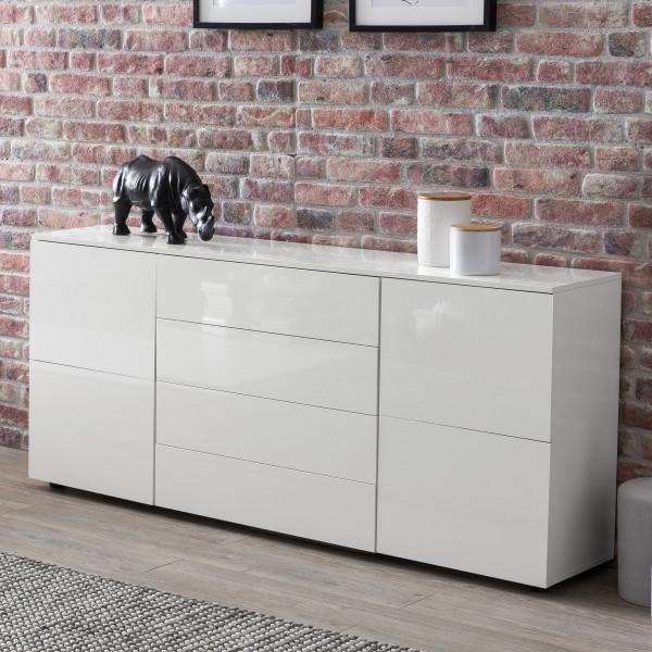 WOHNLING Sideboard Aris 165x75x34,5 cm Kommode Weiß Hochglanz mit Türen | Design Anrichte Groß