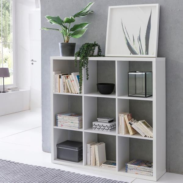 WOHNLING Würfelregal EDDIE Bücherregal mit 9 Fächern Weiß Standregal Regal