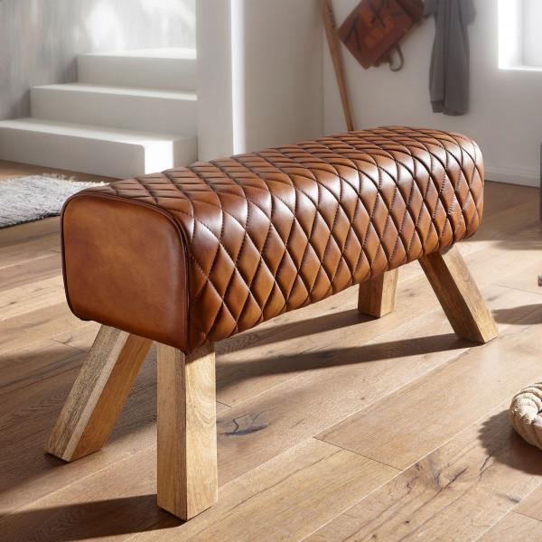 WOHNLING Sitzbank Echtleder / Massivholz 89x46x35 cm Leder Modern Turnbock