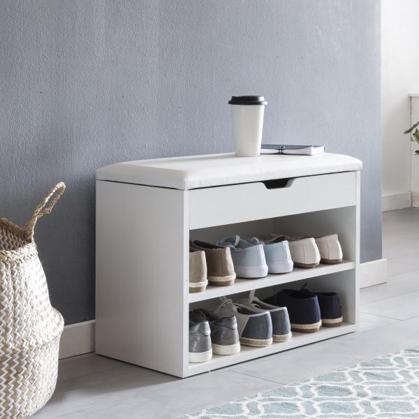 WOHNLING Schuhbank SOFIA mit Sitzfläche Weiß Garderoben-Bank