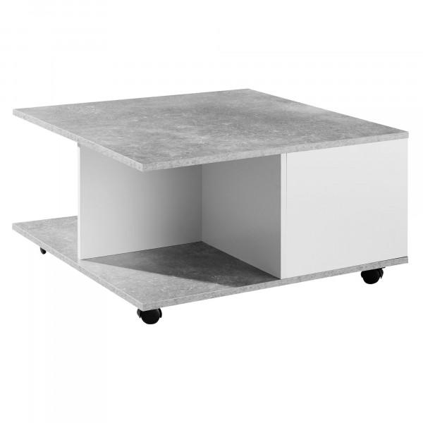 WOHNLING Design Couchtisch 70x70 cm Zementgrau / Weiß