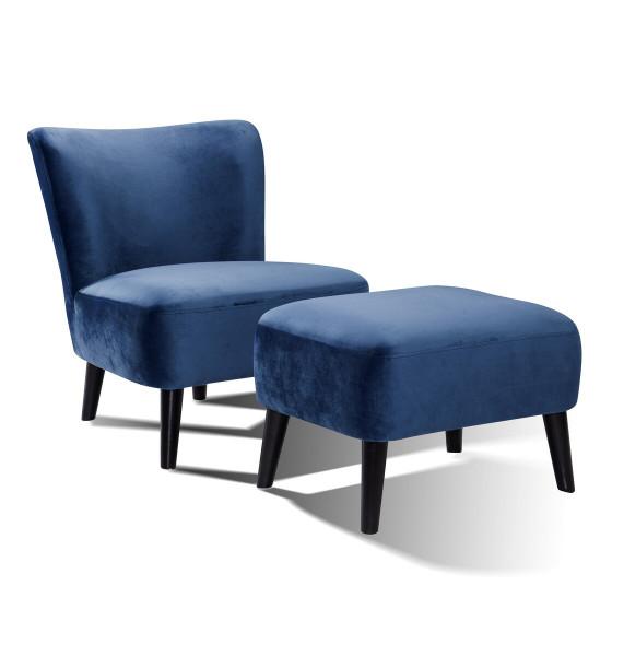 Sessel und Hocker Retro Samt blau Hevea Holz