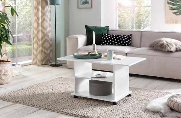 WOHNLING Design Couchtisch Move 95 x 51 x 54,5 cm Weiß Drehbar mit Rollen | Wohnzimmertisch