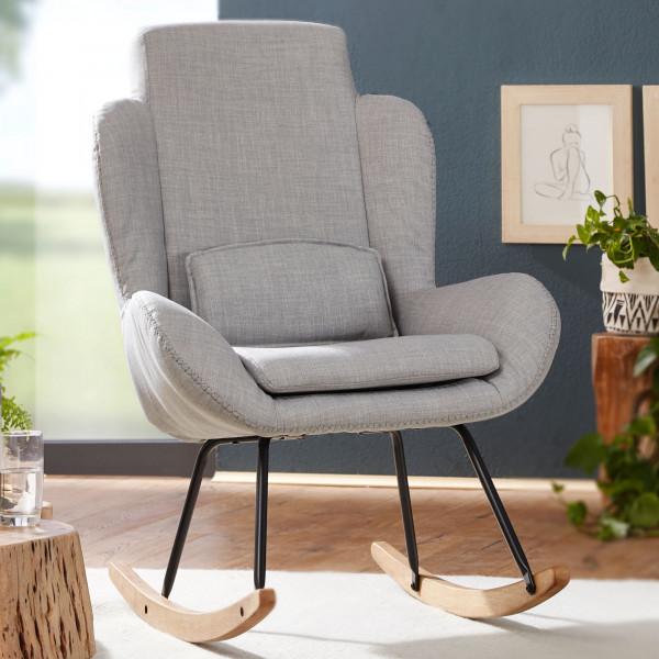 WOHNLING Schaukelstuhl ROCKY Grau Design Relaxsessel 75 x 110 x 88,5 cm | Sessel Stoff / Holz