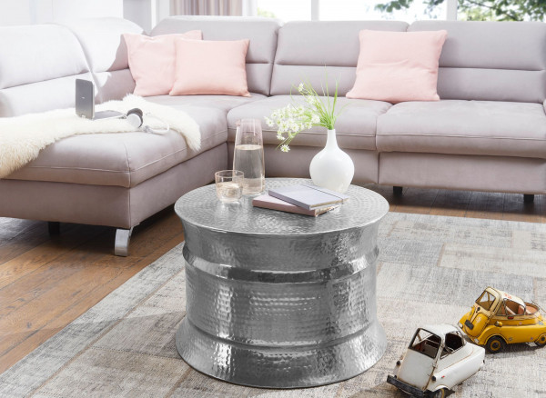 WOHNLING Couchtisch KARAM Aluminium Silber Beistelltisch orientalisch rund