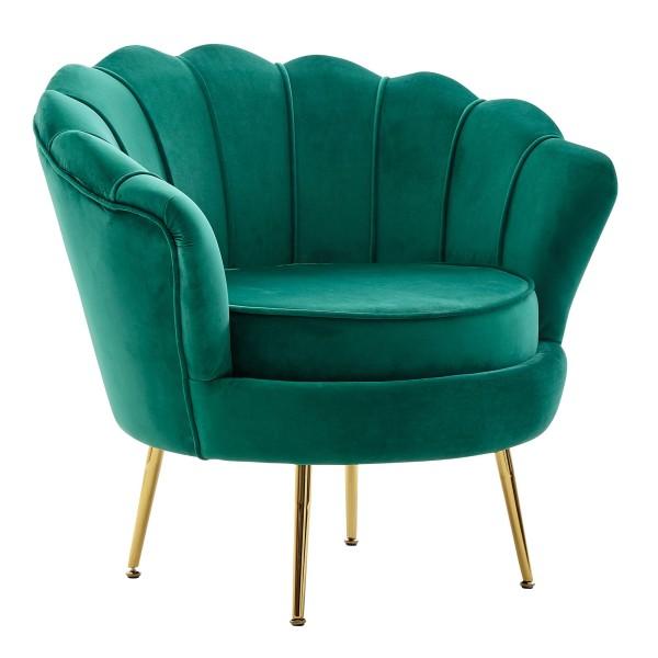 WOHNLING Sessel Tulpe Samt Grün 81 x 77 x 81 cm Design Relaxsessel ohne Hocker