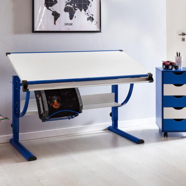 WOHNLING Design Kinderschreibtisch MORITZ blau / weiß