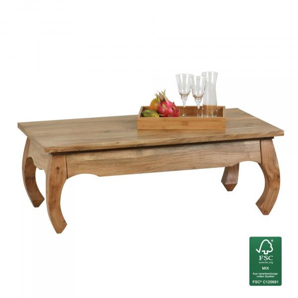 WOHNLING Couchtisch OPIUM Massiv-Holz Akazie 110 cm breit