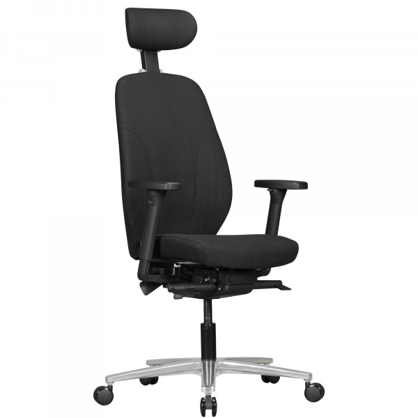 AMSTYLE Bürostuhl OSKAR mit Stoff-Bezug & Kopfstütze in Schwarz   Design Chef-Sessel