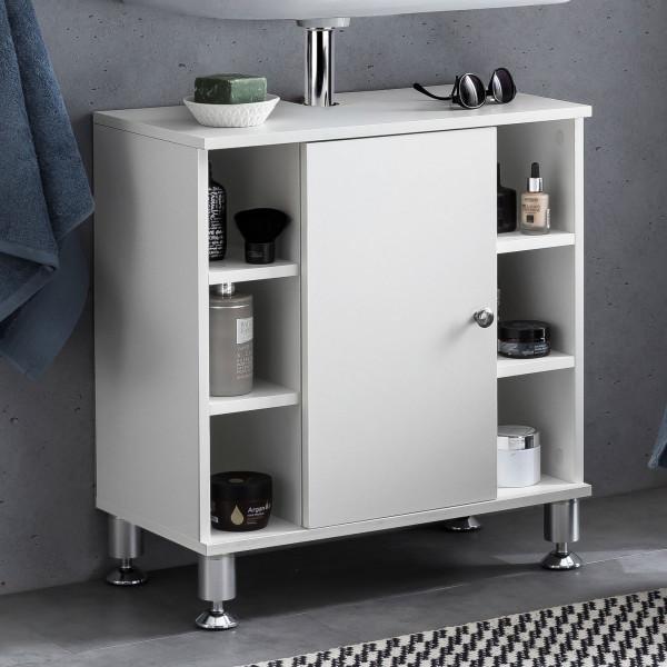 WOHNLING Waschbeckenunterschrank Bubble 60 x 64 x 32 cm Weiß Badschrank mit Tür   Unterschrank