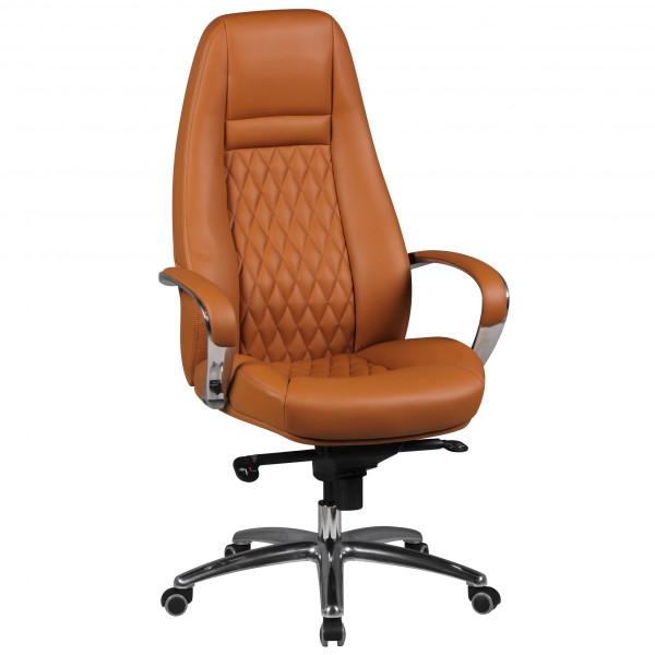 AMSTYLE Bürostuhl AUSTIN Echt-Leder Caramel Schreibtischstuhl 120KG Chefsessel hohe Rückenlehne