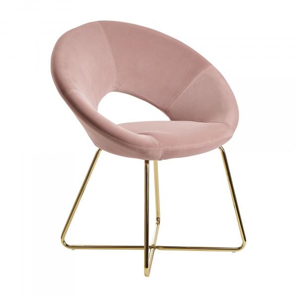 WOHNLING Esszimmerstuhl Samt Rosa Küchenstuhl mit goldenen Beinen