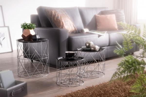 WOHNLING Design Beistelltisch 3er Set aus Körben Schwarz / Silber