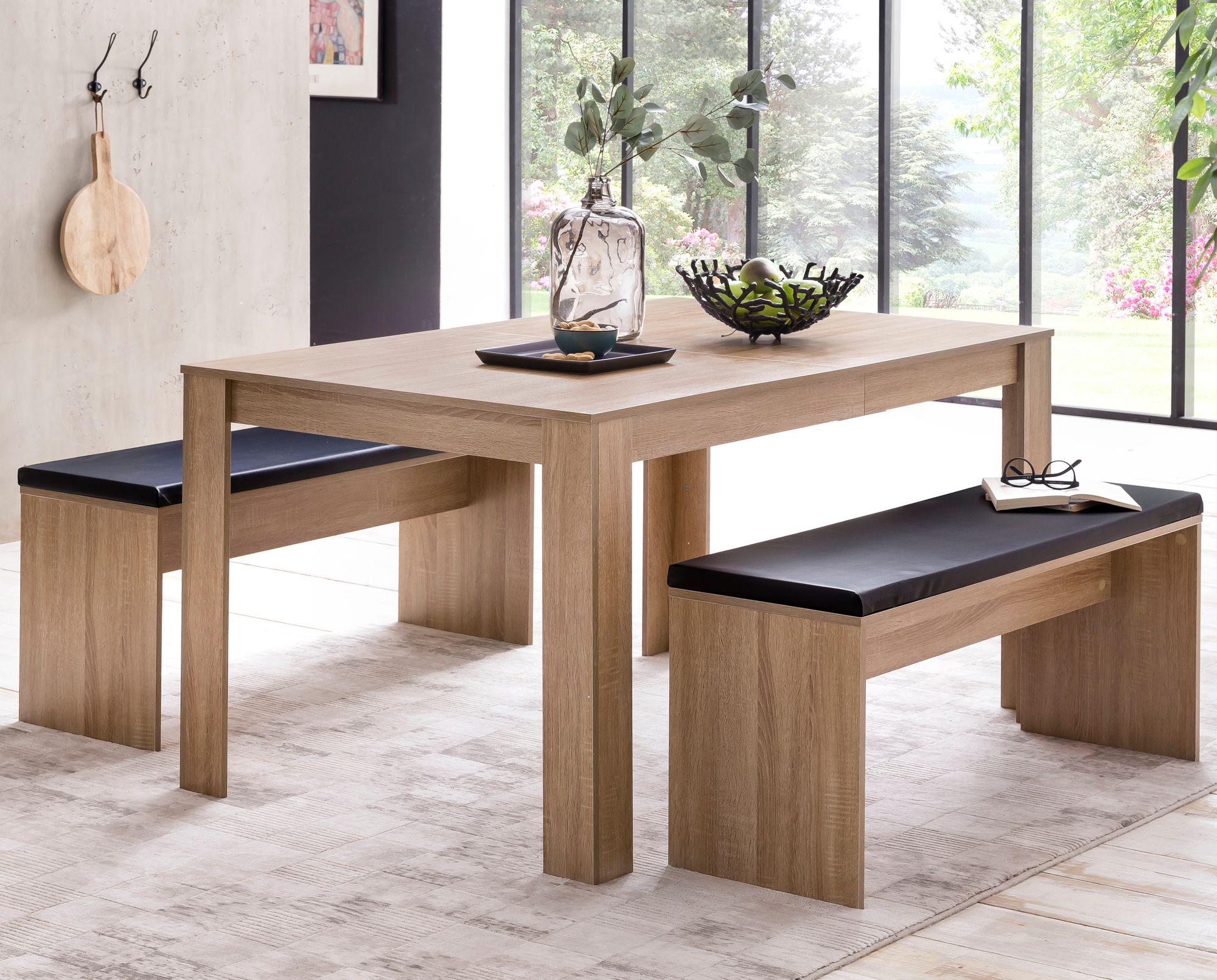 Wohnling Esszimmer Set Sonoma Eiche Esstisch Mit 2 Banken Holz